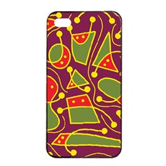 Playful decorative abstract art Apple iPhone 4/4s Seamless Case (Black)