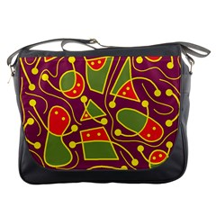 Playful decorative abstract art Messenger Bags