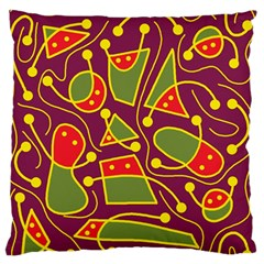 Playful decorative abstract art Large Flano Cushion Case (Two Sides)