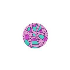 Playful abstract art - pink 1  Mini Buttons
