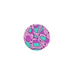 Playful abstract art - pink 1  Mini Magnets