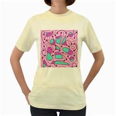 Playful abstract art - pink Women s Yellow T-Shirt
