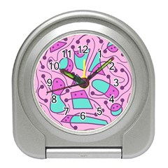 Playful abstract art - pink Travel Alarm Clocks