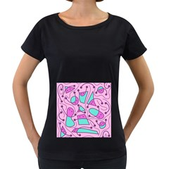 Playful abstract art - pink Women s Loose-Fit T-Shirt (Black)