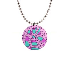 Playful abstract art - pink Button Necklaces