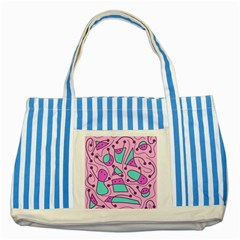 Playful abstract art - pink Striped Blue Tote Bag