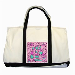 Playful Abstract Art   Pink Two Tone Tote Bag