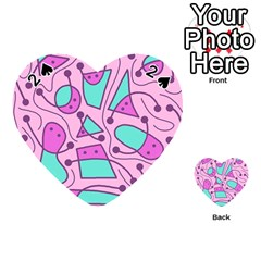 Playful abstract art - pink Playing Cards 54 (Heart)