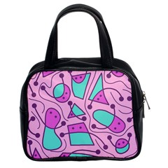 Playful abstract art - pink Classic Handbags (2 Sides)