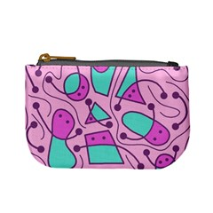 Playful abstract art - pink Mini Coin Purses