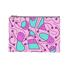 Playful abstract art - pink Cosmetic Bag (Large)