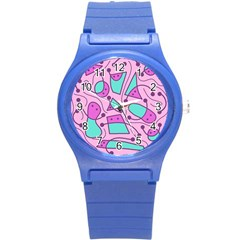 Playful abstract art - pink Round Plastic Sport Watch (S)