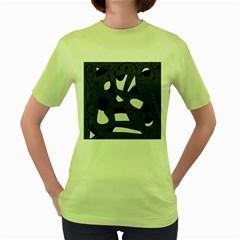 Playful abstract art - gray Women s Green T-Shirt