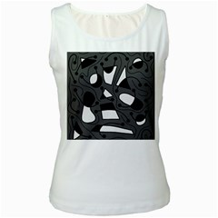 Playful abstract art - gray Women s White Tank Top