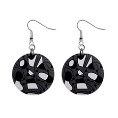 Playful abstract art - gray Mini Button Earrings