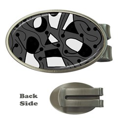 Playful abstract art - gray Money Clips (Oval)