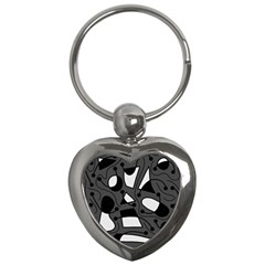 Playful abstract art - gray Key Chains (Heart)