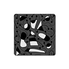 Playful abstract art - gray Square Magnet