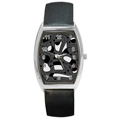 Playful abstract art - gray Barrel Style Metal Watch