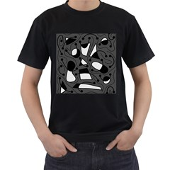 Playful abstract art - gray Men s T-Shirt (Black) (Two Sided)