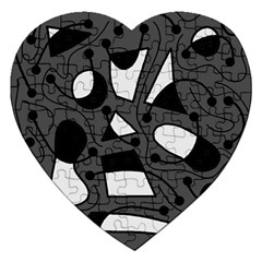 Playful abstract art - gray Jigsaw Puzzle (Heart)