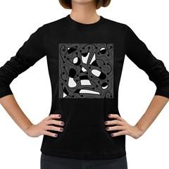 Playful abstract art - gray Women s Long Sleeve Dark T-Shirts