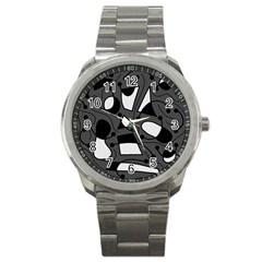 Playful abstract art - gray Sport Metal Watch