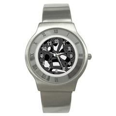 Playful abstract art - gray Stainless Steel Watch
