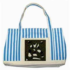 Playful abstract art - gray Striped Blue Tote Bag