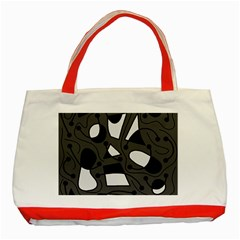 Playful abstract art - gray Classic Tote Bag (Red)