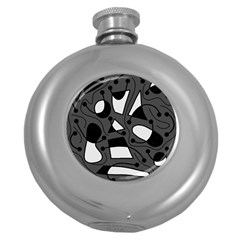 Playful abstract art - gray Round Hip Flask (5 oz)