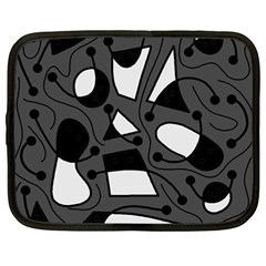 Playful abstract art - gray Netbook Case (Large)