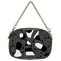 Playful abstract art - gray Chain Purses (Two Sides)