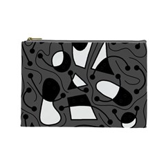 Playful abstract art - gray Cosmetic Bag (Large)