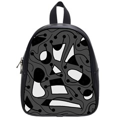Playful abstract art - gray School Bags (Small)
