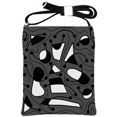 Playful abstract art - gray Shoulder Sling Bags