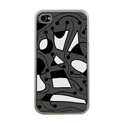 Playful abstract art - gray Apple iPhone 4 Case (Clear)
