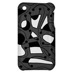 Playful abstract art - gray Apple iPhone 3G/3GS Hardshell Case