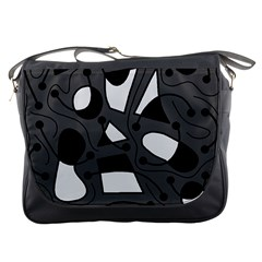 Playful abstract art - gray Messenger Bags