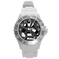 Playful abstract art - gray Round Plastic Sport Watch (L)