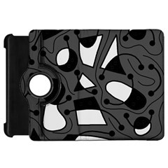 Playful abstract art - gray Kindle Fire HD Flip 360 Case