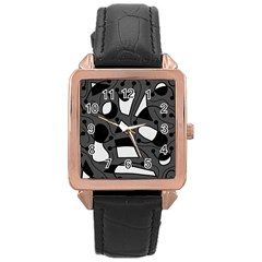 Playful abstract art - gray Rose Gold Leather Watch