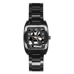 Playful abstract art - gray Stainless Steel Barrel Watch