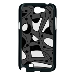 Playful abstract art - gray Samsung Galaxy Note 2 Case (Black)