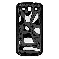 Playful abstract art - gray Samsung Galaxy S3 Back Case (Black)