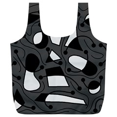 Playful abstract art - gray Full Print Recycle Bags (L)