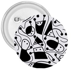 Playful abstract art - white and black 3  Buttons