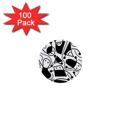 Playful abstract art - white and black 1  Mini Buttons (100 pack)