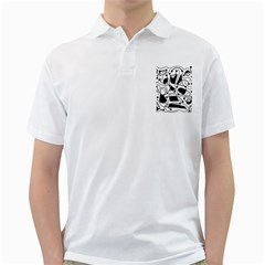 Playful abstract art - white and black Golf Shirts