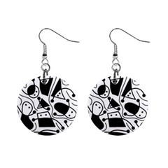 Playful abstract art - white and black Mini Button Earrings